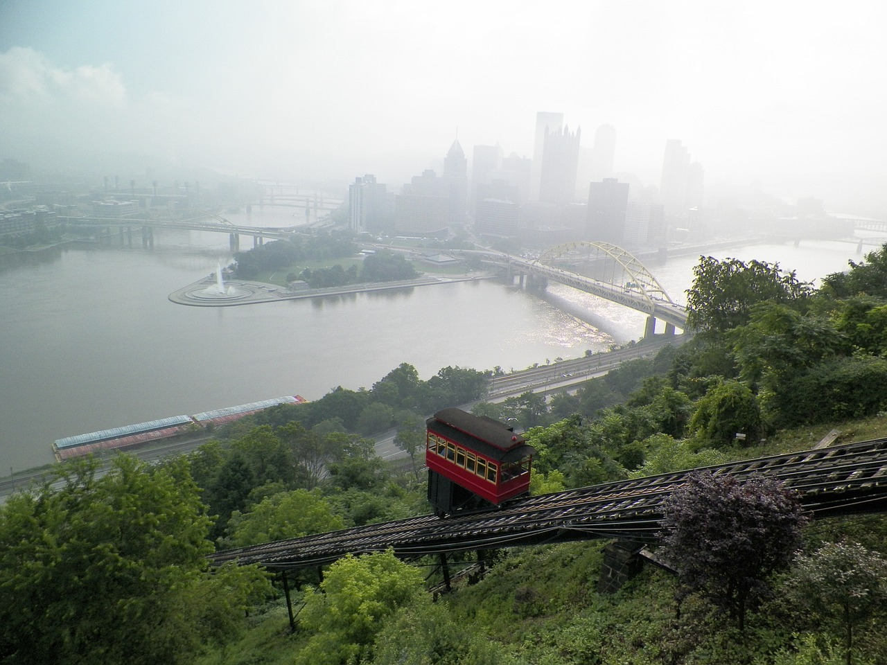 Duquesne Incline trolley car with Pittsburgh skyline