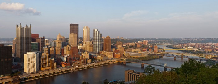 panoramic view of the Pittsburgh, PA skyline